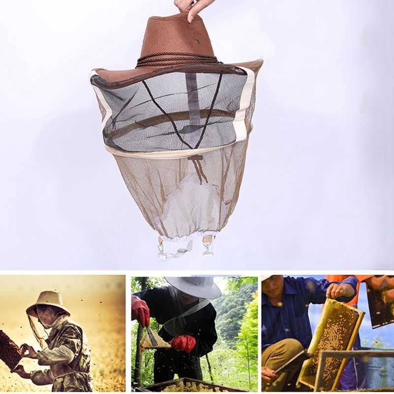 Beekeeping Hat Mosquito Bee Insect Net Veil Hat Face Head Wrap Protector