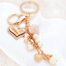 цены Creative Heart Keychains Fashion Key Chains Women Bag Charm Pendant Car Key Rings Holder Love Beads Keyrings Gifts