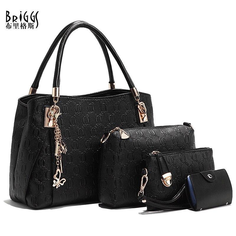 4ced2fed5bff US $24.75 45% OFF BRIGGS 2019 Women Bag 4 PCS/Set Handbag PU Leather Women  Handbags Girls Shoulder Bags High Quality Female Messenger Bags Tote-in ...