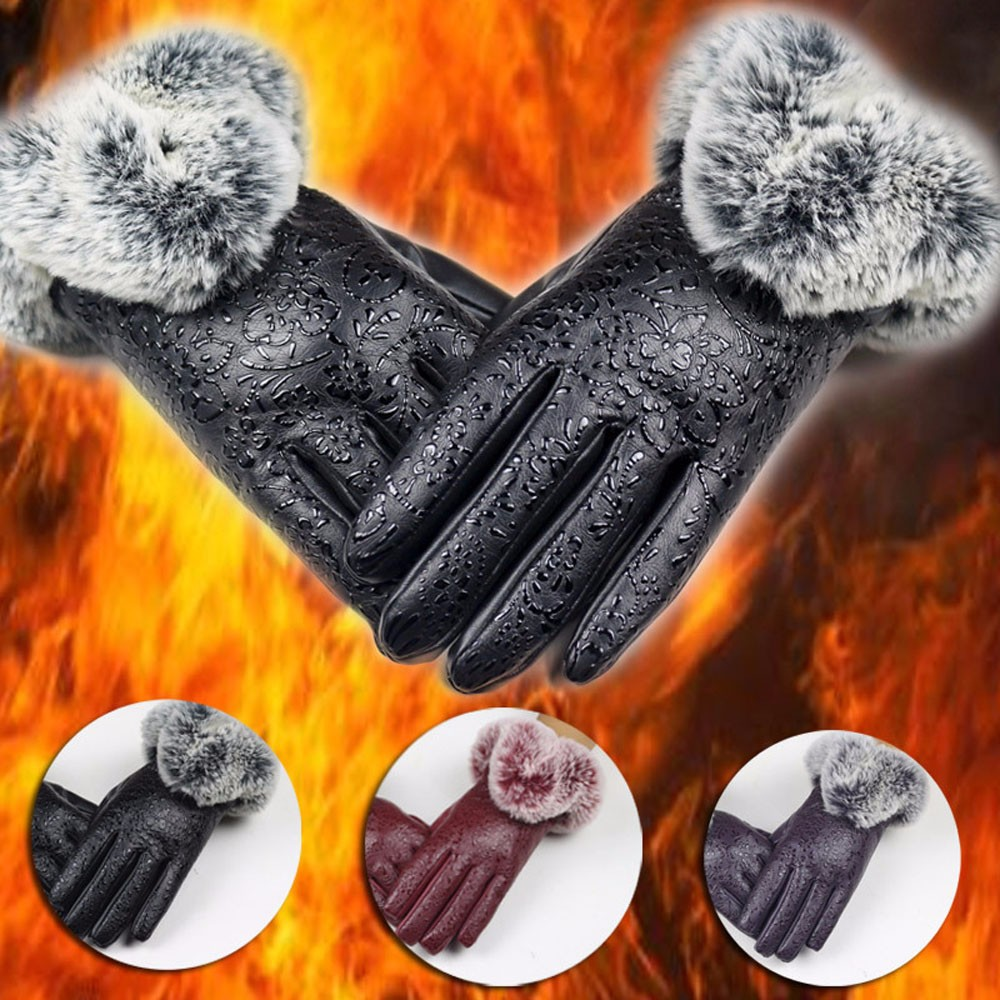 Women Lady Black Leather Gloves Autumn Winter Warm Rabbit Fur Mittens Rabbit Fur Gloves  ...