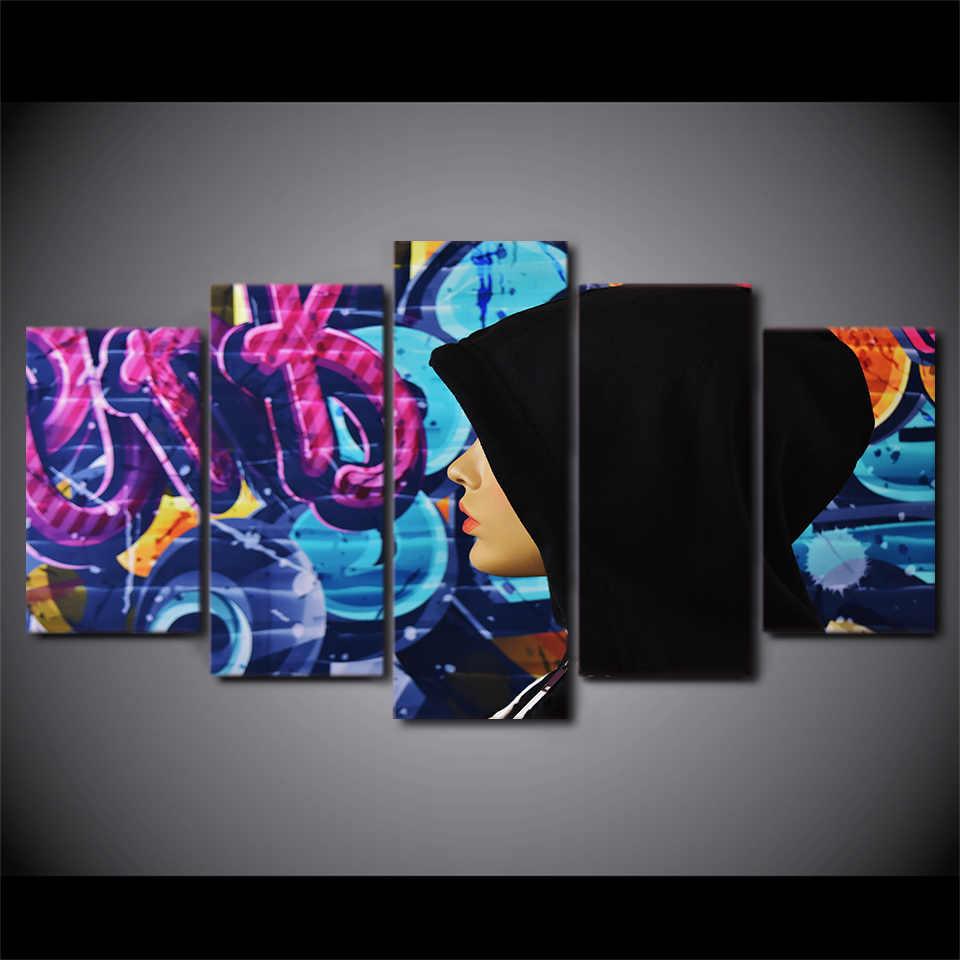5 Панель рамку с девушкой капюшон таинственный граффити HD печатных стене картину