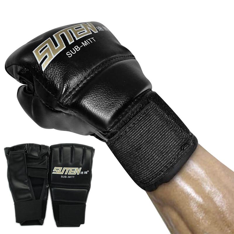 Shiv Naresh Teens Boxing Gloves 12oz: Half Finger Boxing Gloves Brazilian Muay Thai PU Leather