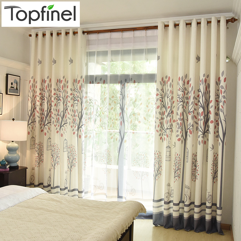 Tree Pattern Faux Linen Window Curtains For Living Room