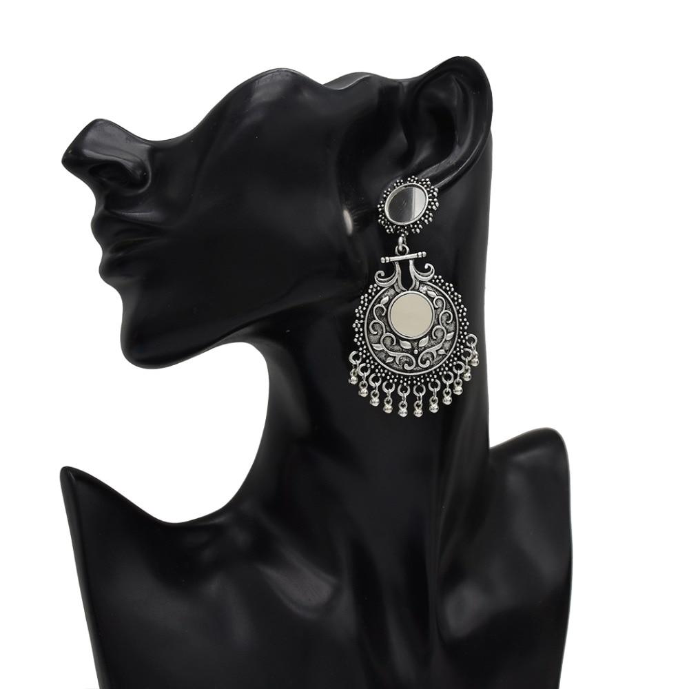 b3670795f Gypsy Afghan Women Vintage Silver Boho Dangle Earrings Ethnic Bohemia Long Drop  Earring Tribal Geometric Tassel