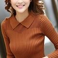Nova moda primavera outono mulheres longo-luva Turn-down Collar camisola de malha camisa básica fêmea magro pulôver tops roupas