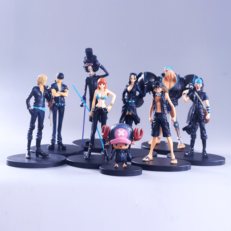 9pcs/set Anime One Piece Film Gold Monkey D Luffy Tony Chopper Brook Sanji Nami Zoro Pvc Figure Molde Toys 9-22cm Durable Service Action & Toy Figures