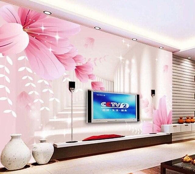 Benutzerdefinierte 3D wallpaper, rosa blumen und schmetterling ...