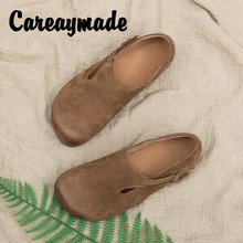 Careaymade-Free shipping,2018 new spring women's genuine leather handmade shoes,original literary and artistic retro flat shoes