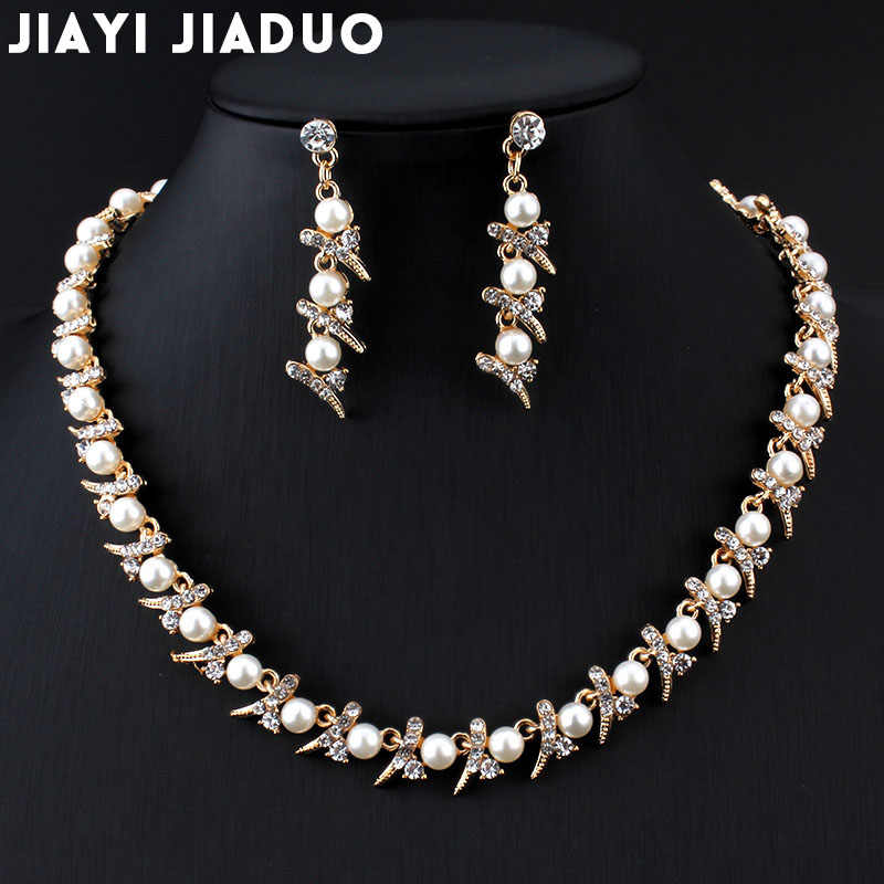 jiayijiaduo imitation Pearl Necklace earrings set gold-color Wedding hair jewelry trade Drop shipping Women Costume jewelry set