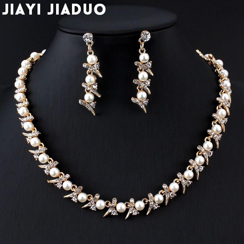 UnabhäNgig Jiayijiaduo Imitation Perle Halskette Ohrringe Set Gold-farbe Hochzeit Haar Schmuck Handel Drop Verschiffen Frauen Kostüm Schmuck-set Brautschmuck Sets