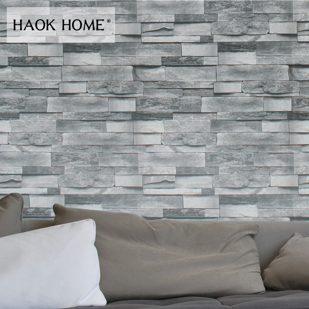 Us 28 83 Haokhome 3d Faux Brick Wallpaper Pvc Rolls Black Grey Dk Blue Textured Wall Decoration Living Room Kitchen Home Wall Decoration In