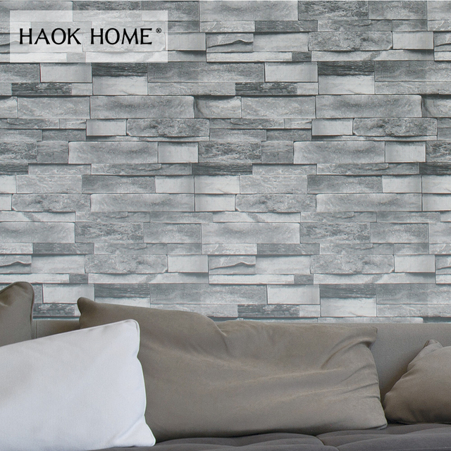 Haokhome Faux Brick Wallpaper Pvc Rolls Black Grey Dk Blue Textured Wall Decoration Living Room Kitchen Home