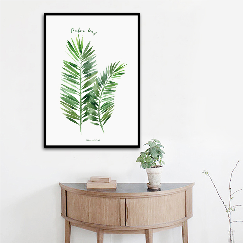 Minimalist tropical palm leaf canvas art print painting for Minimalist wall decor