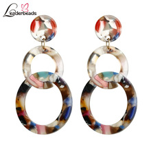 Trendy Multicolor Acrylic Circular Matching Earrings 2 layer Long Dangle Girls Charm Acetic Resin Brincos Accessories
