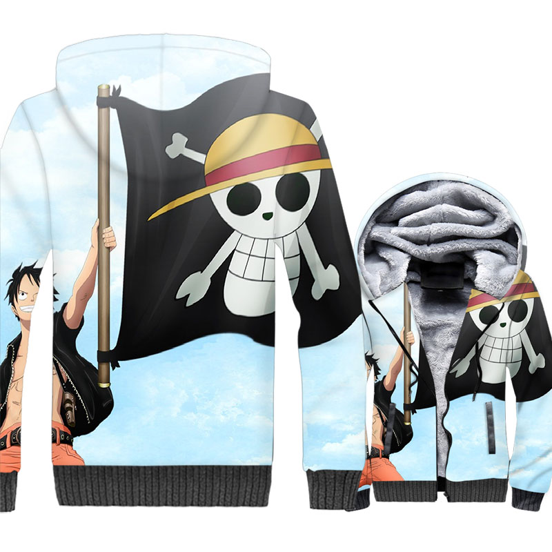 Ace Luffy Jackets Men Anime One Piece 3D Print Hoodie Sweatshirt Winter Thick Fleece The Pirate King Coat Harajuku Streetswear