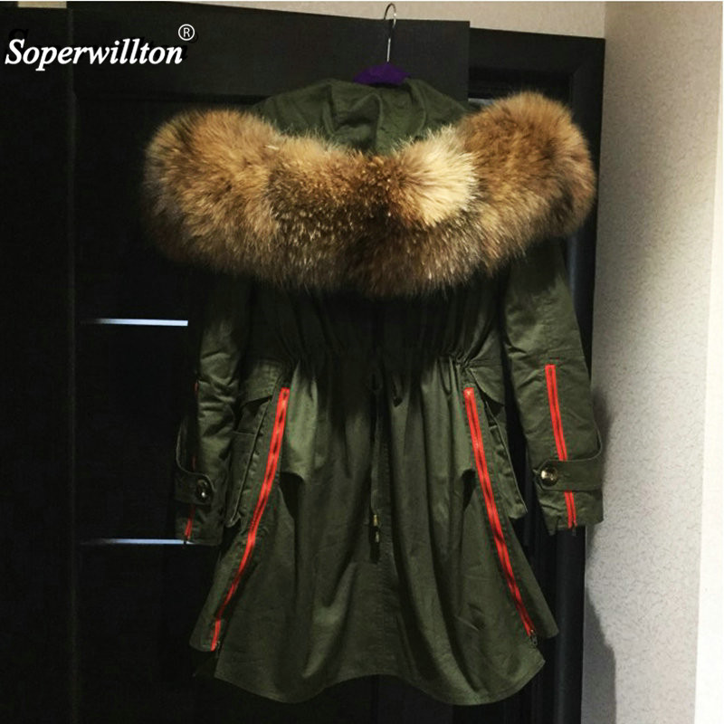 2018 New Fashion Army Green Large Real Fur Winter Jacket Collar Hooded Women Jacket Coats Collar