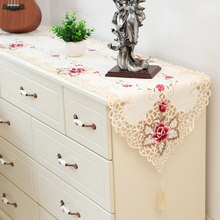 High-grade embroidery table runner weding decoration bed cabinet cover cloth country decor obrus pokojowy chemin de