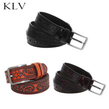 Men Genuine Leather Belt New Fashion Carved Flower High Quality Waist Belts All-Match