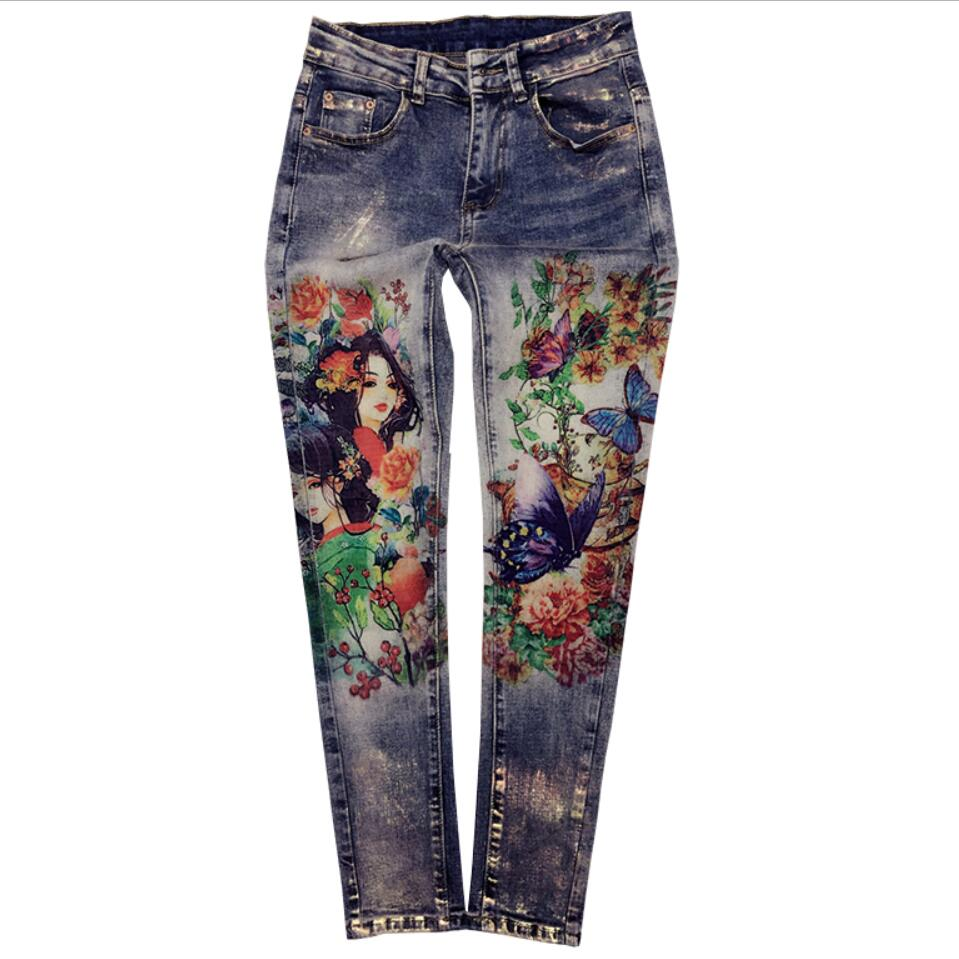 plus size 25-32!2018 autumn Casual Denim Skinny painted Pencil   Jeans   elastice Bronzing Painted Pattern   Jeans