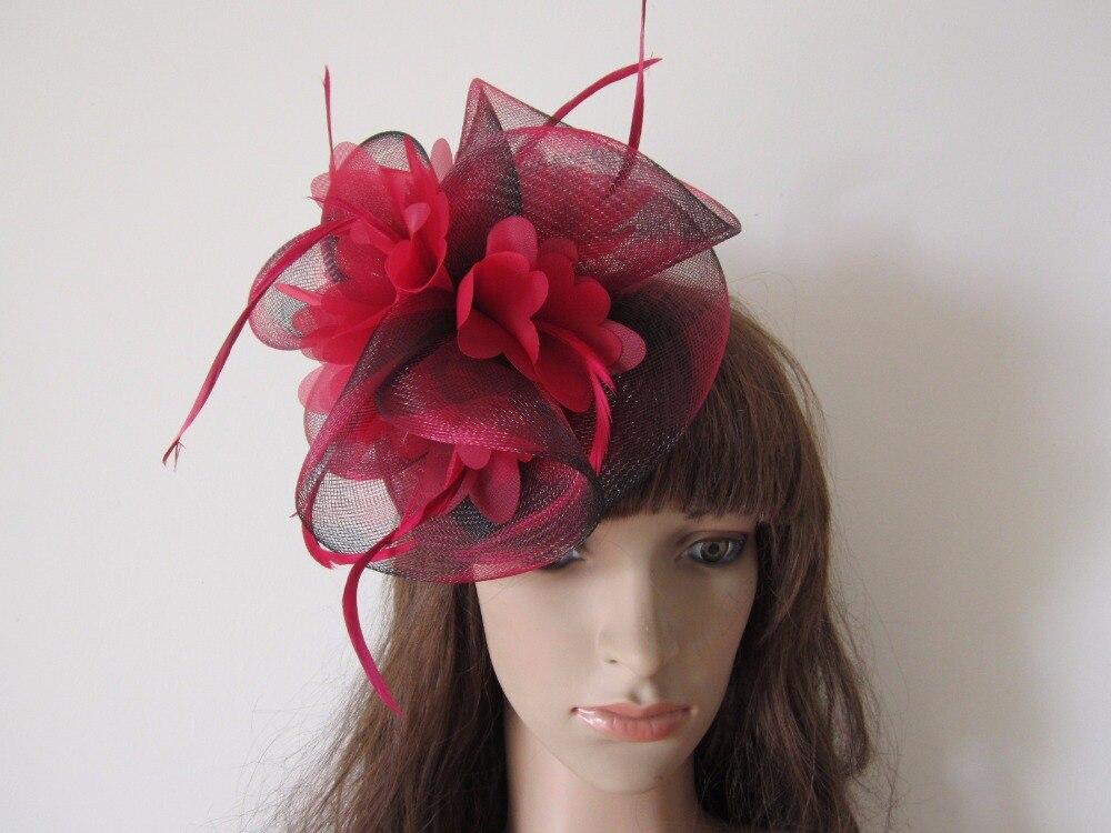 Burgundy Wine Red   Black Mixed Wedding Feathers Hair Fascinators Clip Claw  Barrette Fascinator Hat Headpieces b7b1de12324