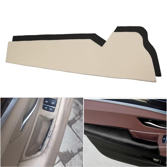 Couro de vaca do carro interior motorista lado maçaneta da porta braço painel proteção capa para bmw série 5 f10 f18 2011 2012 2013   2017