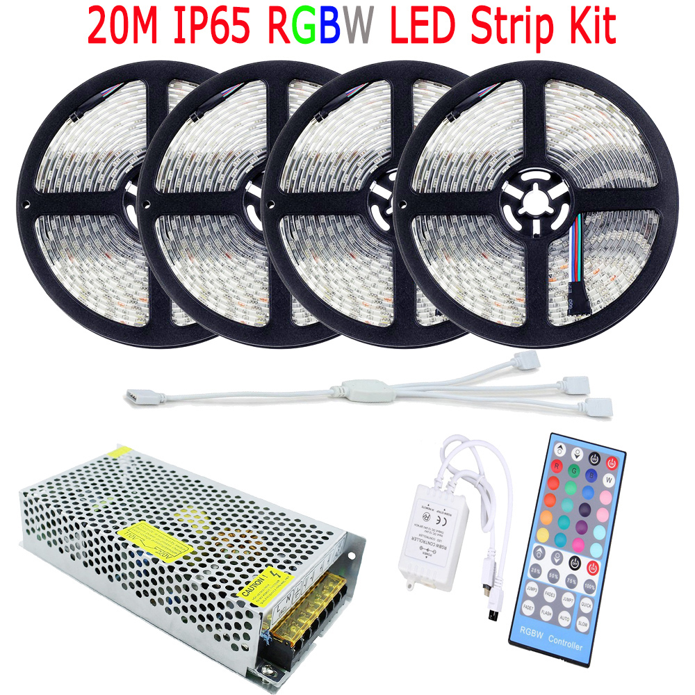 15m 20m 10m 5050 rgbw rgbww led strip ip65 waterproof full kit diode tape decoration home light. Black Bedroom Furniture Sets. Home Design Ideas