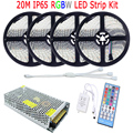 15M 20M 10M 5050 RGBW RGBWW LED Strip IP65 Waterproof Full Kit Diode Tape Decoration Home Light RGBW Remote Controller 12V Power