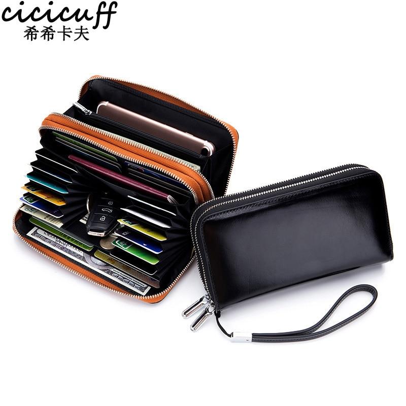 CICICUFF Lady Wallet Genuine Leather Double Zipper Long Clutch Bag Oil Wax Leather RFID Anti-theft Brush Phone Wrist Bag Handbag
