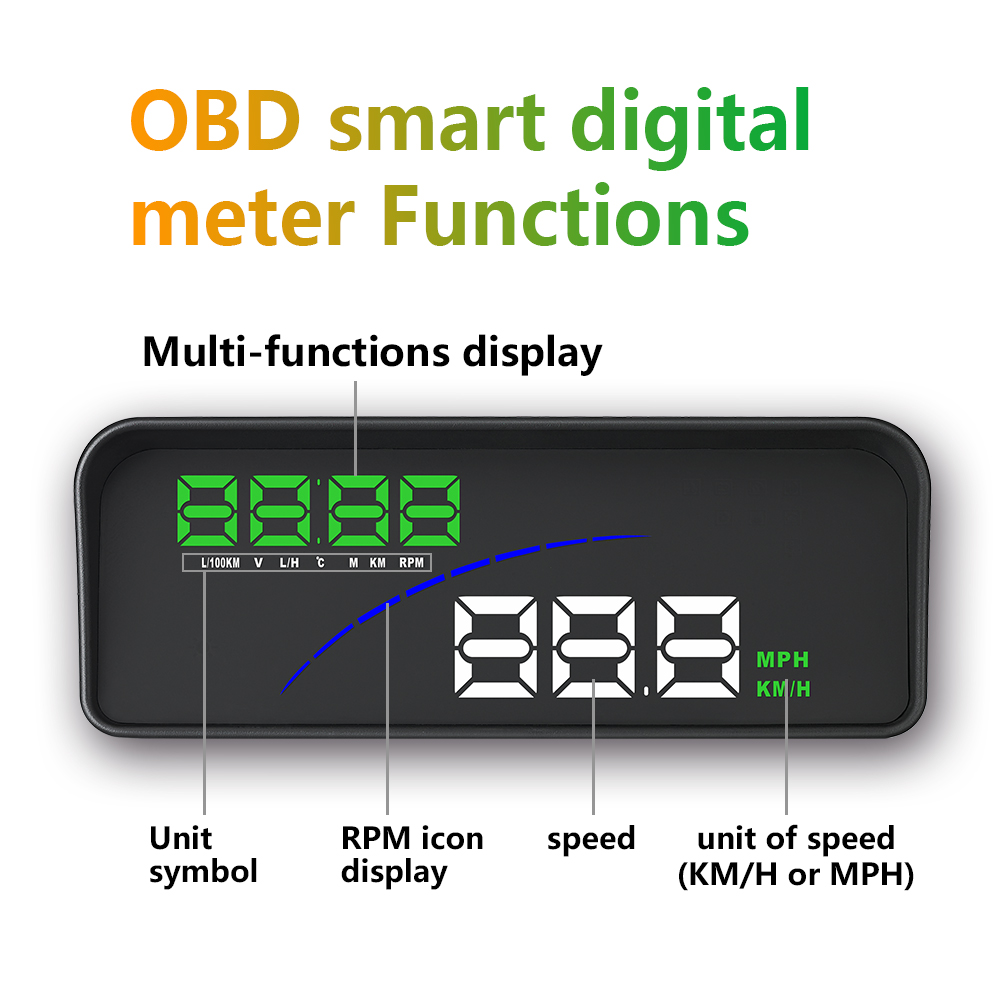 Image 3 - GEYIREN P9 Car HUD Head Up Display OBD Smart Digital Meter For Most OBD2 EUOBD Cars P9 HD Projector Display The Car Dashboard-in Head-up Display from Automobiles & Motorcycles