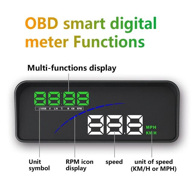 GEYIREN-affichage de la tête de voiture P9   HUD, OBD, mètre numérique intelligent, pour la plupart des voitures OBD2 EUOBD, projecteur, affichage du tableau de bord de la voiture P9
