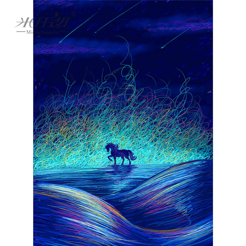 Michelangelo Wooden <font><b>Jigsaw</b></font> <font><b>Puzzle</b></font> 500 1000 <font><b>1500</b></font> 2000 <font><b>Pieces</b></font> Dream Unicorn Cartoon Animal Kids Educational Toy Painting Art Decor image