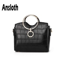 цена на Ansloth Alligator Handbag Women Metal Handle Shoulder Bag Lady Small Handle Bag PU Leather Crossbody Bag Female Hand Bag HPS633