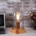 Art Deco madeira candeeiros de secretária abajur de vidro transparente E27 base bulbo 40 W luzes da tabela madeira luz de leitura lâmpadas frete grátis