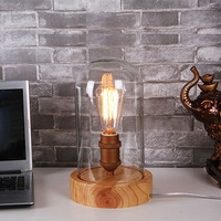 Art Deco wooden Desk lamps clear glass lampshade E27 base bulb 40W table lights wood light reading lamps free shipping