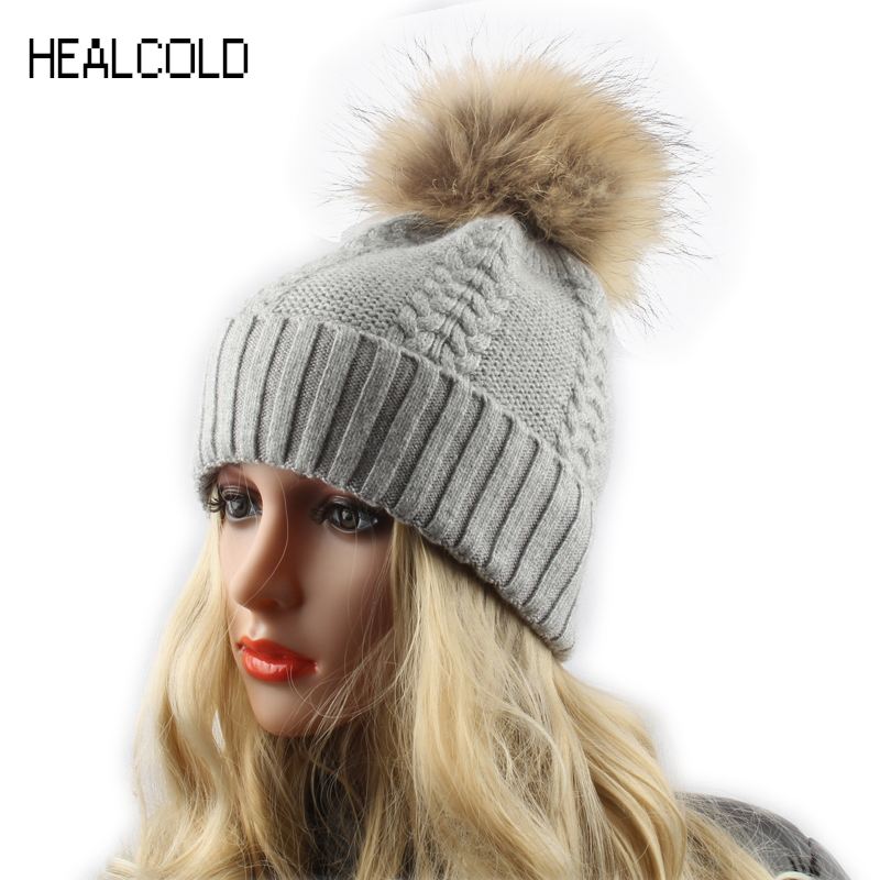 Winter Fur Pom poms   Beanie   For Ladies Women Fashion Brand Cashmere Wool Hat Female   Skullies     Beanies