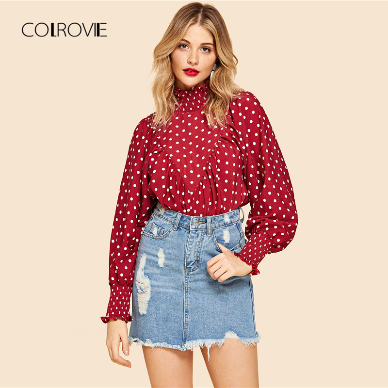 c6c24ec64917c COLROVIE Red Frill Polka Dot Print Smock Vintage Elegant Blouse Shirt 2018  Autumn Long Sleeve Sweet Womens Tops And Blouses-in Blouses   Shirts from  Women s ...