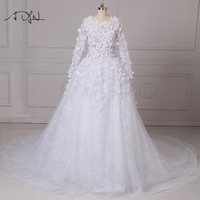 ADLN Cathedral Train Wedding Dresses 2017 Floral Long Sleeve Illusion Bodice White Ivory Lace Bridal Gown