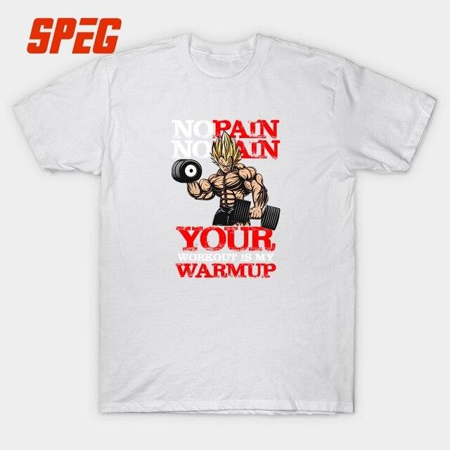 aa9dd37e1 Funny Dragon Ball No Pain No Gain Men's T Shirt Your Workout Warmup MMA  Bodybuilding Cartoon Tees Shirt Printed Top Short Sleeve