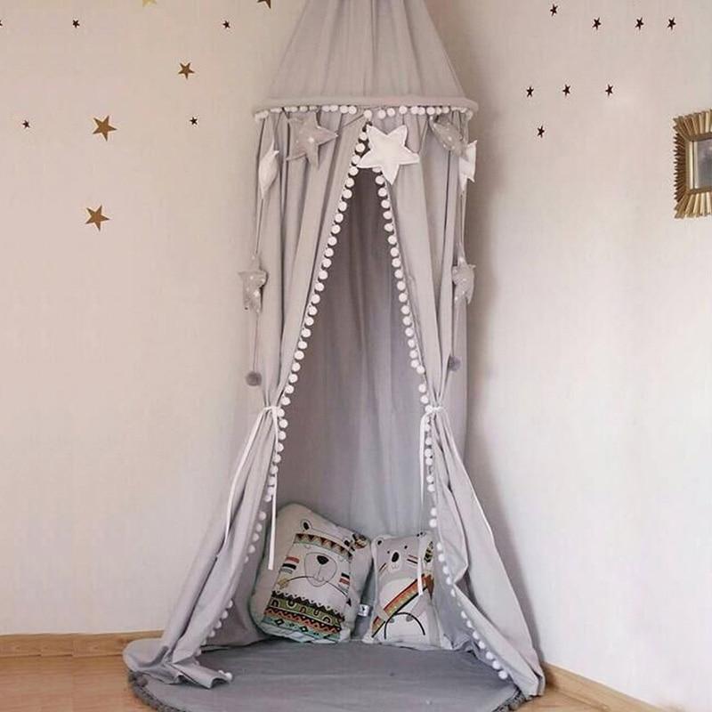 Lit enfant baldaquin lit rideau rond dôme suspendu bébé berceau rideau tente enfants jouer tente princesse auvent enfants chambre décoration