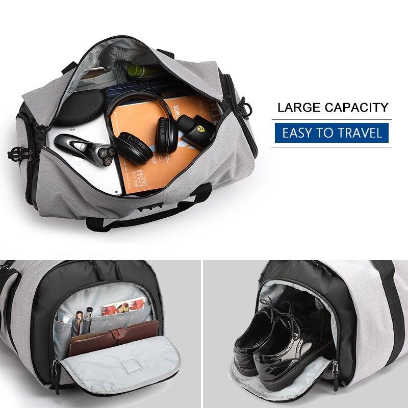 Sac de voyage multifonction pour hommes de grande capacité sac de voyage étanche pour costume de voyage sacs de bagages à main avec pochette à chaussures