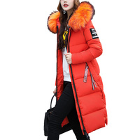 Áo khoác mùa đông 2017 cổ áo Lông Thú Lớn trùm đầu Bông Độn phụ nữ áo Dài Parka Dày Ấm áo khoác Nữ Cộng Với kích thước