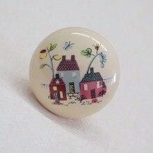 Round Ceramic Knobs Children Door Handle Beige Porcelain Cartoon Drawer Dresser Furniture Hardware Cupboard