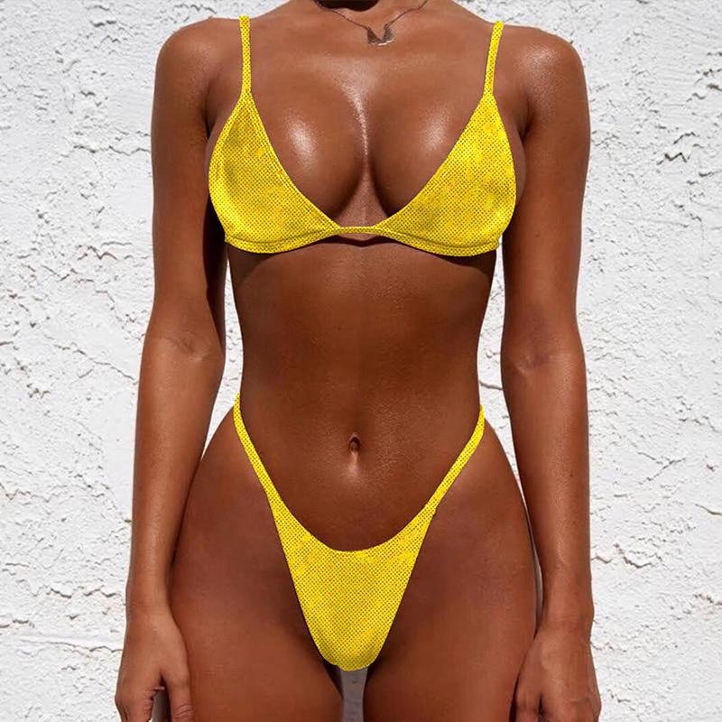 2020 Neon thong bikini string micro top Triangle push up swimsuit female bathing suit High cut sexy swimwear women bathers new 1