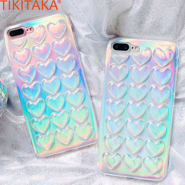 promo code 06b34 caba2 US $1.1 40% OFF|TIKITAKA Colorful Phone Case For iPhone 8 Plus Case With  Lanyard Gradient Laser Funda Love Heart Carcasas For iPhone 7 7 Plus -in ...