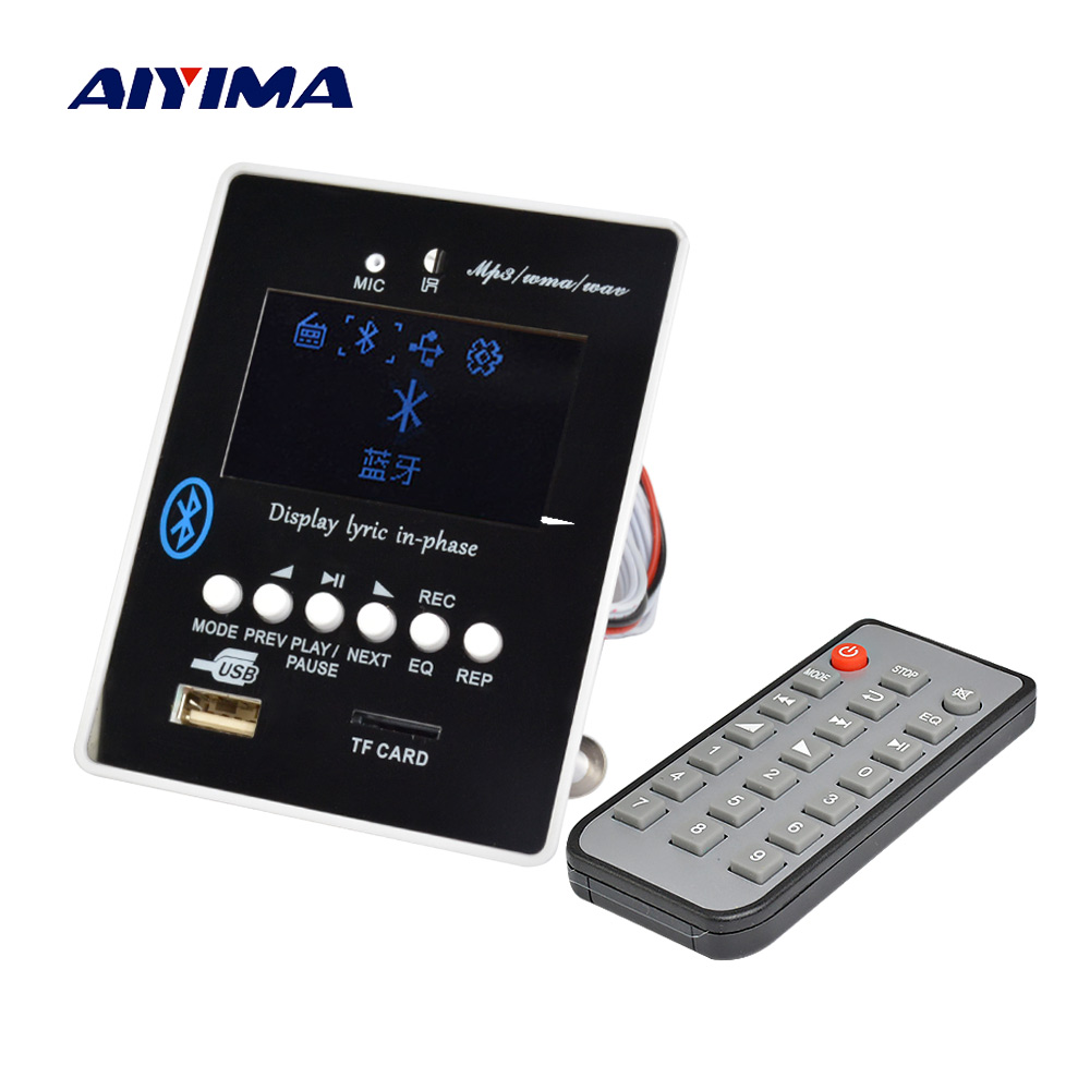 Aiyima LED Lyric Display Bluetooth Audio MP3 Decoder Board MP3 Player Receiver Module Decoding USB SD WAV WMA AUX FM carbon fiber automotive license plate frame sgx regulatory license car license plate frame for mini cooper