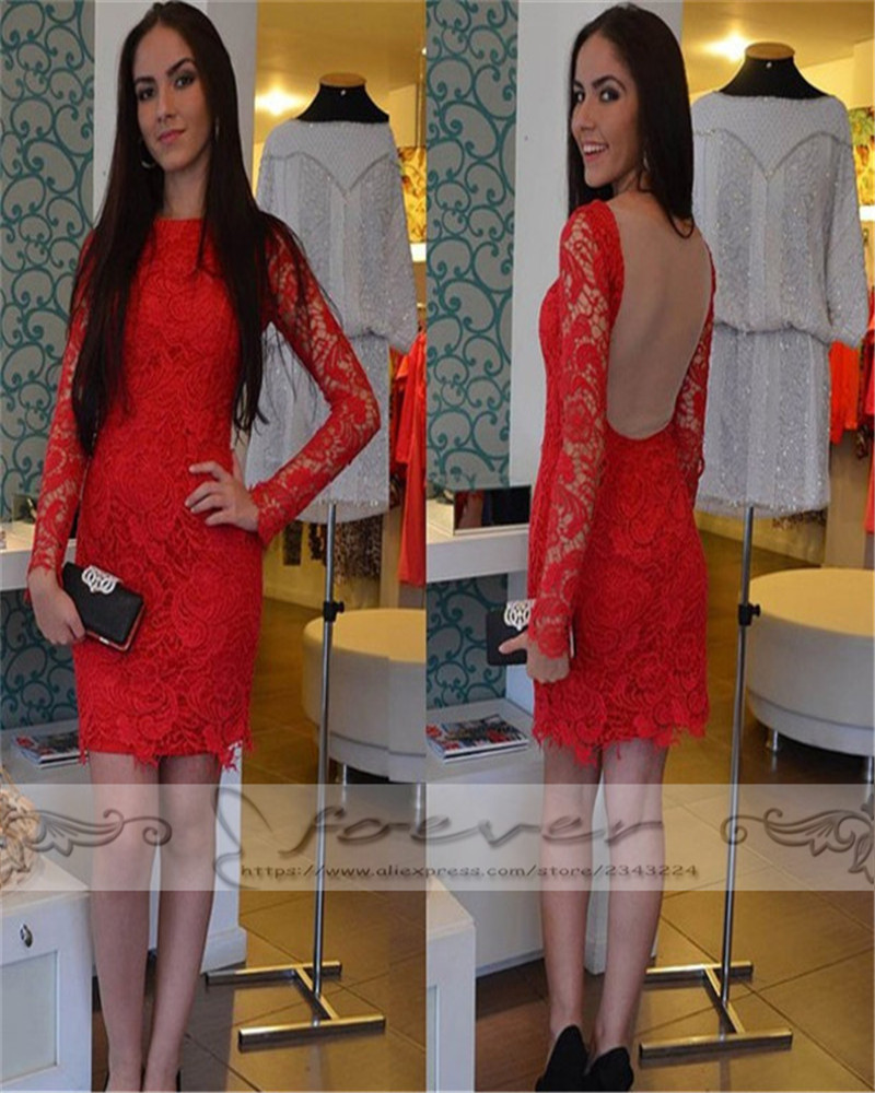 New Fashion Red Long Sleeve Prom Dresses 2019 Cheap Clothes China Lace Sheer See Throuth Back Party Gowns Vestido De Festa Curto