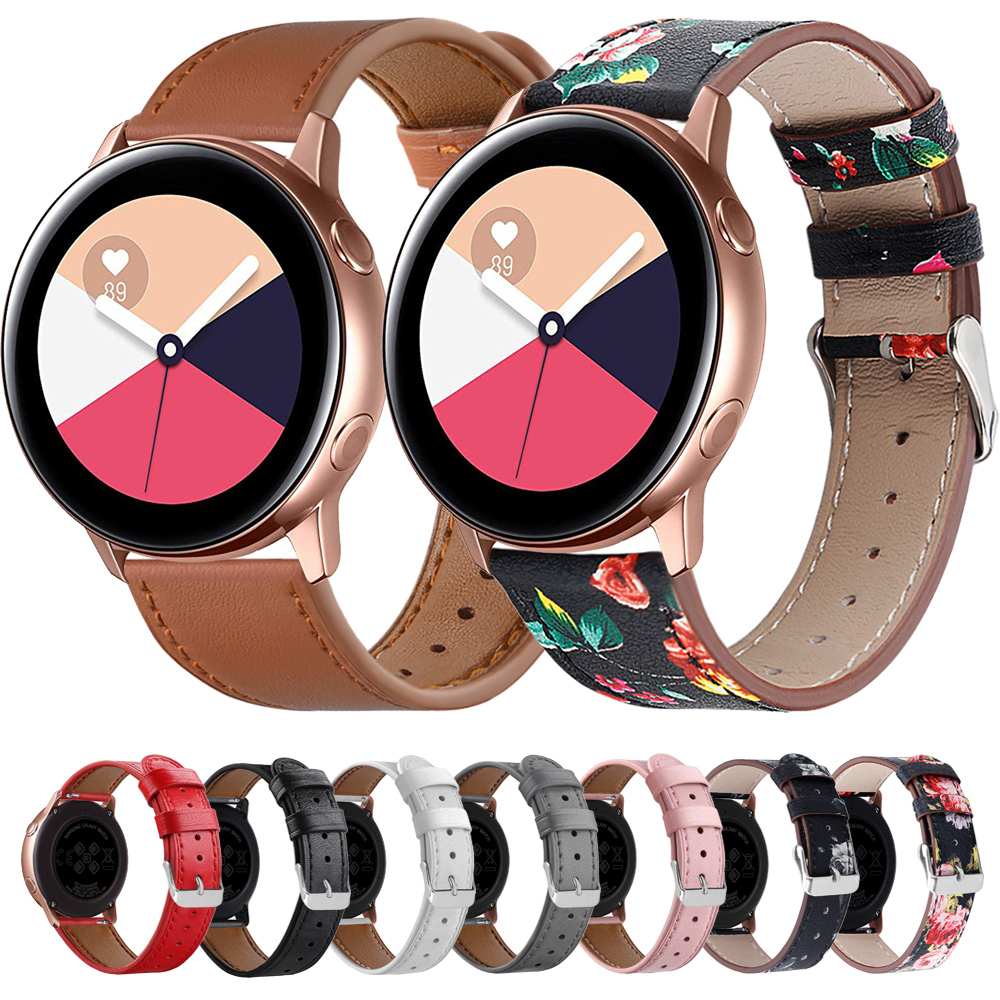 Leather Strap For Samsung Galaxy Watch Active Strap 20mm Watch Straps Leather Bands For Galaxy Watch 42mm Smart Watch Band Women