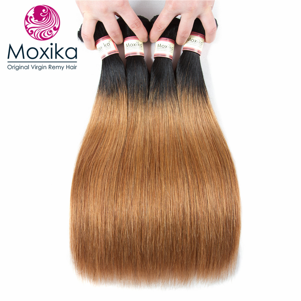 Moxika Hair Dark Blonde 1b 27 Brazilian Straight Human Hair 4 Bundles Omber Two Tone Brazilian