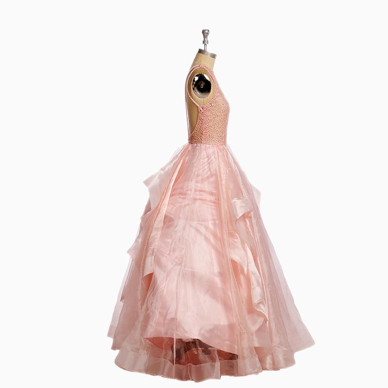 Elegantes Hinchados Largos Vestidos De Fiesta Rubor de Color Rosa ...
