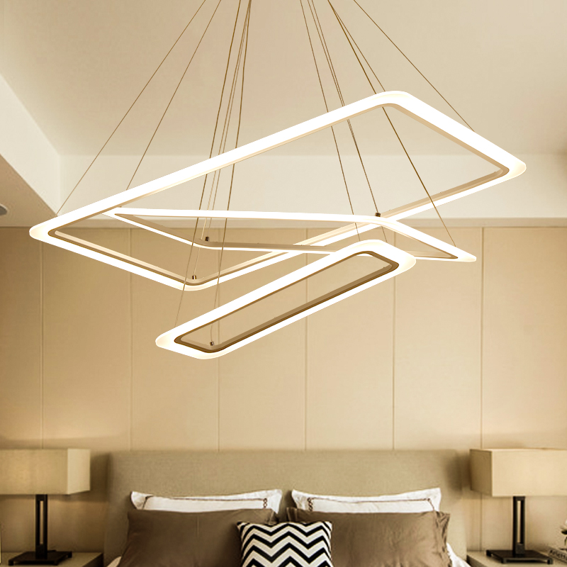 Modern 4 square rings LED Pendant Lights acrylic+metal suspension hanging ceiling lamp for For Living Room Dining room light цена 2017